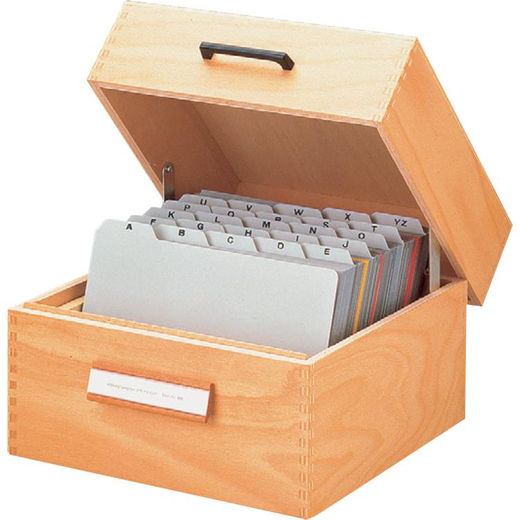 Öffne Karteikasten aus Holz, A5 quer ca. 900 Karten
